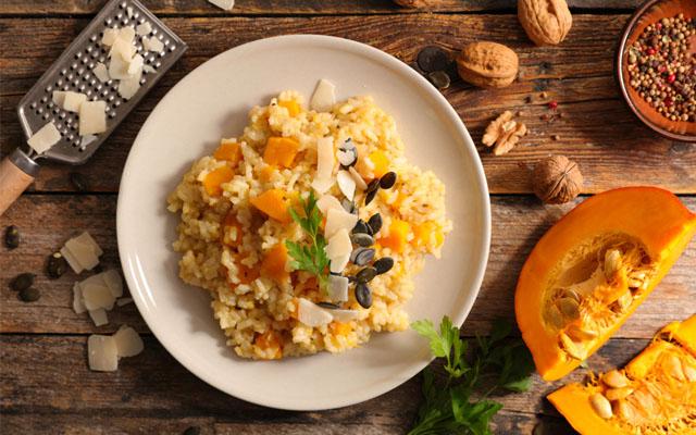 Kürbis-Risotto mit Parmesan